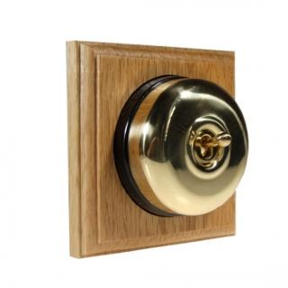 1 Gang 2 Way Asbury Light Oak Wood, Polished Brass Dome Period Switch