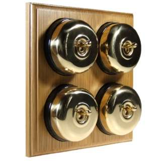 4 Gang 2 Way Asbury Light Oak Wood, Polished Brass Dome Period Switch