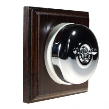 1 Gang 2 Way Asbury Dark Oak Wood, Polished Chrome Dome Period Switch