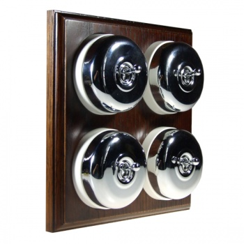 4 Gang 2 Way Asbury Dark Oak Wood, Polished Chrome Dome Period Switch