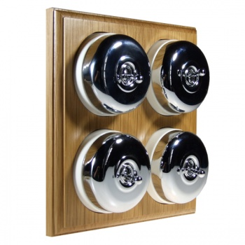 4 Gang 2 Way Asbury Light Oak Wood, Polished Chrome Dome Period Switch