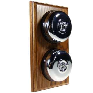 2 Gang 2 Way Asbury Medium Oak Wood, Polished Chrome Dome Period Switch
