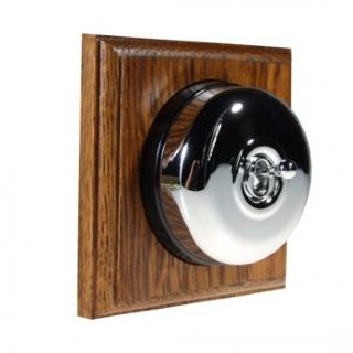 1 Gang Intermediate Asbury Medium Oak Wood, Polished Chrome Dome Period Switch