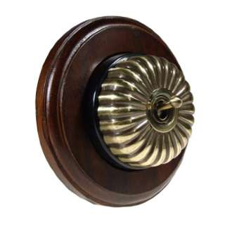 1 Gang Intermediate Asbury Dark Oak Wood, Fluted Dome Period Switch