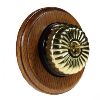 1 Gang Intermediate Asbury Medium Oak Wood, Polished Brass Fluted Dome Period Switch