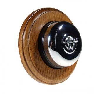 1 Gang 2 Way Asbury Medium Oak Wood, Polished Chrome Dome Period Switch