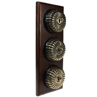 3 Gang 2 Way Asbury Dark Oak Wood, Fluted Dome Period Switch