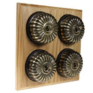 4 Gang 2 Way Asbury Light Oak Wood, Fluted Dome Period Switch