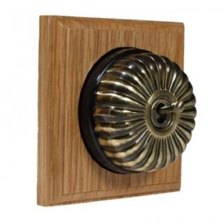 1 Gang Intermediate Asbury Light Oak Wood, Fluted Dome Period Switch