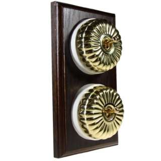 2 Gang 2 Way Asbury Dark Oak Wood, Fluted Polished Brass Dome Period Switch