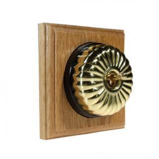 1 Gang 2 Way Asbury Light Oak Wood, Polished Brass Fluted Dome Period Switch