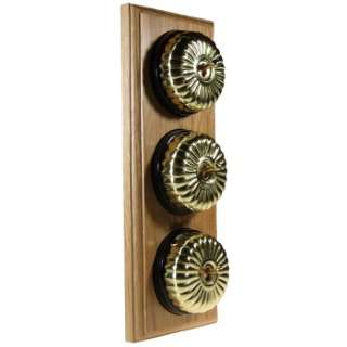 3 Gang 2 Way Asbury Light Oak Wood, Polished Brass Fluted Dome Period Switch