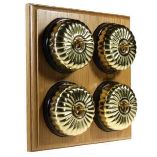 4 Gang 2 Way Asbury Light Oak Wood, Polished Brass Fluted Dome Period Switch