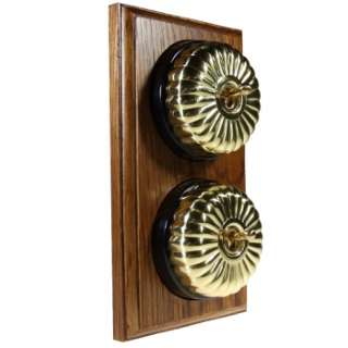 2 Gang 2 Way Asbury Medium Oak Wood, Polished Brass Fluted Dome Period Switch