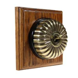 1 Gang Intermediate Asbury Medium Oak Wood, Fluted Dome Period Switch