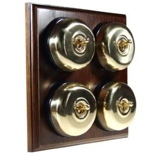 4 Gang 2 Way Asbury Dark Oak Wood, Polished Brass Dome Period Switch