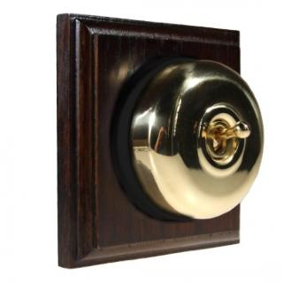 1 Gang Intermediate Asbury Dark Oak Wood, Polished Brass Dome Period Switch