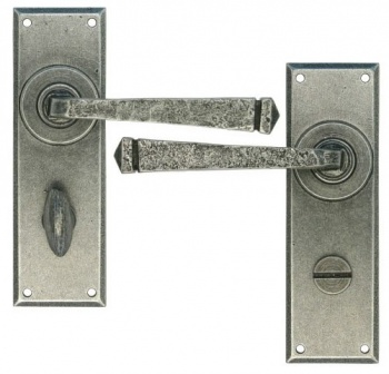 Avon Pewter Lever Bathroom Set - Pewter Patina