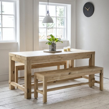 Raw Pine Brookville Table And Bench Set