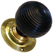 Solid Ebonised Round Beehive Door Knobs