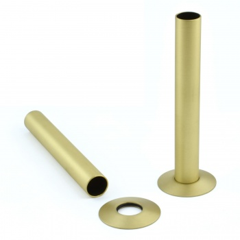 Cast Iron Radiator Pipe Shrouds - Brushed Brass