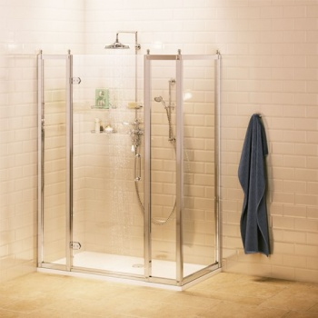 Burlington Bathrooms -  Hinged Door with In-line and Side Panel