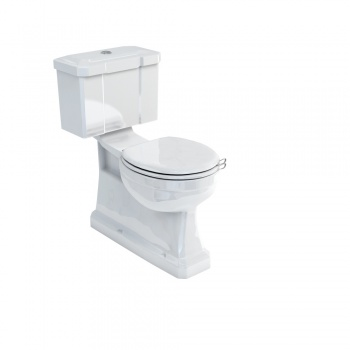 Concealed bottom outlet close-coupled WC with slimline rear or bottom entry flush button cistern