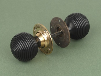 Solid Ebony Beehive Door Knobs Brass Backplate