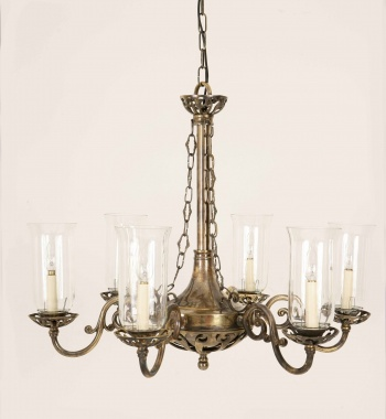 Empire Solid Brass 6 Arm Pendant With Glass