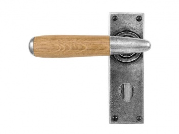 Finesse Lever on Bathroom Backplate in Oak, Walnut or Cherry