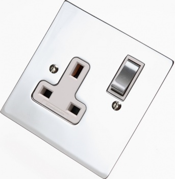 Flat Victorian Polished Chrome Plug Sockets