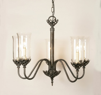 Gothic Solid Brass 5 Light Pendant