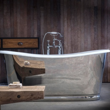 Arroll- Lorraine Cast Iron Mirror Bath High Polished Stainless Steel