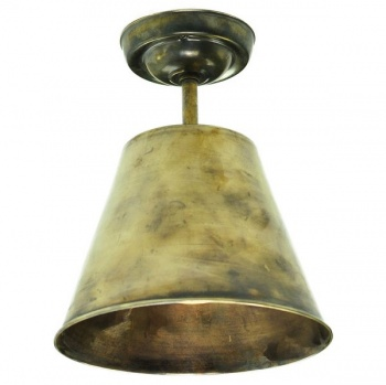 Map Room Flush Ceiling Light - Antique Brass