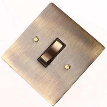 Flat Victorian Antique Brass Rocker Switches