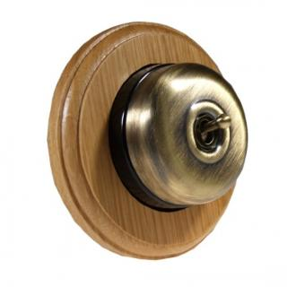 1 Gang 2 Way  Light Oak Wood, Smooth Dome Period Switch