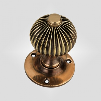 Reeded Period Door Knob - Antique Brass