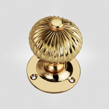 Reeded Period Door Knob - Polished Brass