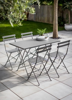 Rectangular Bistro Table and 4 Chairs - Charcoal