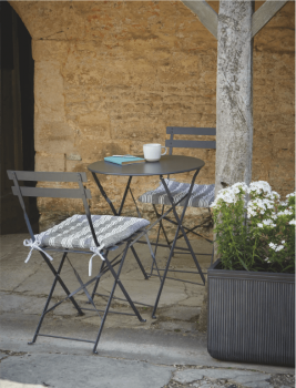 Round Bistro Set Table & 2 Chairs in Carbon