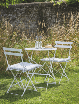 Round Bistro Set Table & 2 Chairs in Chalk