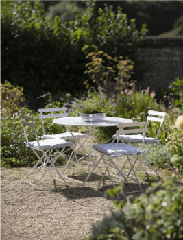 Round Rive Droite Bistro Set Table and 4 Chairs - Chalk