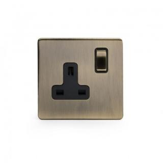 The Charterhouse Collection Aged Brass 1 Gang Double Pole Socket with Black Insert Single 13A