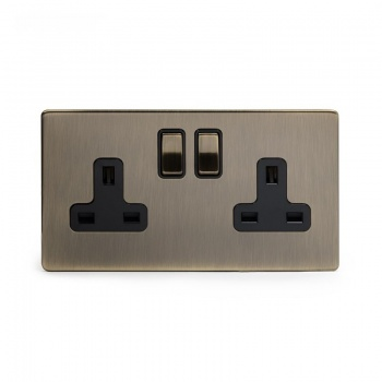 The Charterhouse Collection Aged Brass 2 Gang Double Pole Socket with Black Insert 13A
