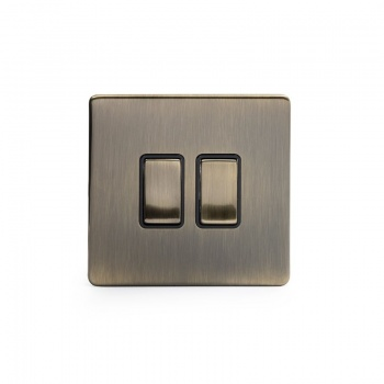 The Charterhouse Collection Aged Brass 10A 2 Gang 2 Way Switch with Black Insert
