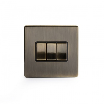 The Charterhouse Collection Aged Brass 10A 3 Gang 2 Way Switch with Black Insert