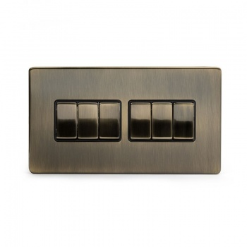 The Charterhouse Collection Aged Brass 10A 6 Gang 2 Way Switch with Black Insert