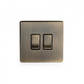 The Charterhouse Collection Aged Brass 10A 2 Gang Intermediate Switch with Black Insert