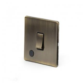 The Charterhouse Collection Aged Brass 1 Gang Flex Outlet 20 Amp Switch with Black Insert