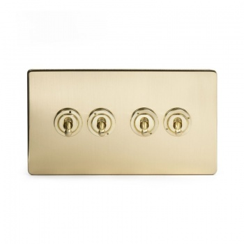 The Savoy Collection Satin Brass Period 4 Gang 2 Way Dolly Switch